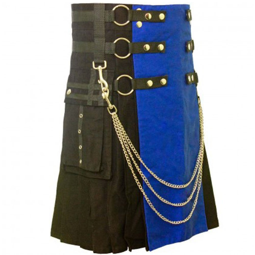 New Active Men Scottish Black and Blue Two Tonned Utility Cotton Kilt Size 58