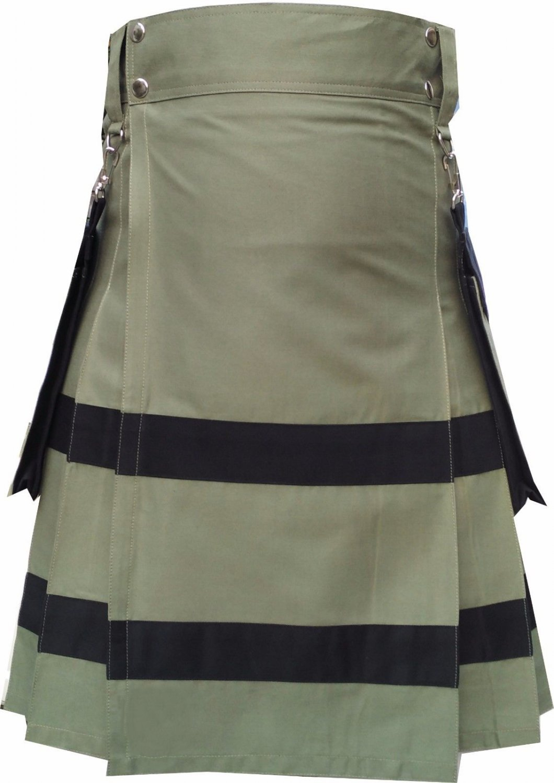 New Active Men Scottish Handmade utility sports fashion Olive Green kilt Size 52