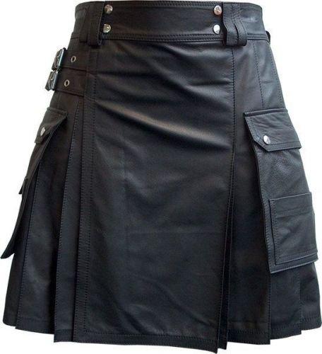 Men Real Leather Pleated Kilt Club wear Kilt With Cargo Pockets Size 44