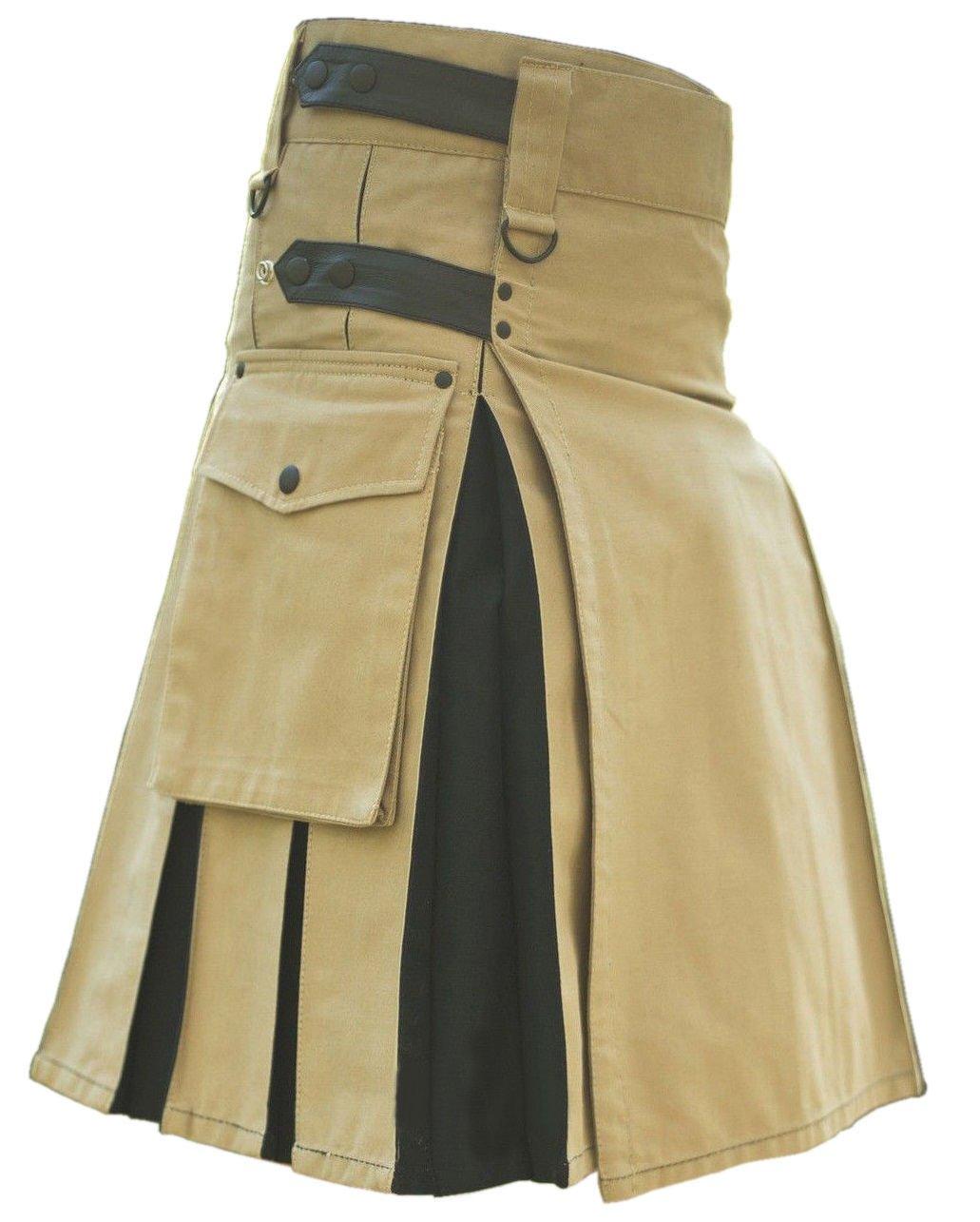 New DC Handmade Black & khaki Cotton Utility Style Hybrid Kilt for Men with Leather straps size 48