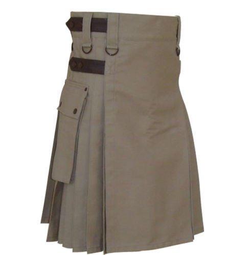 New DC Handmade khaki Cotton Utility Style Kilt for Men with Leather straps size 50