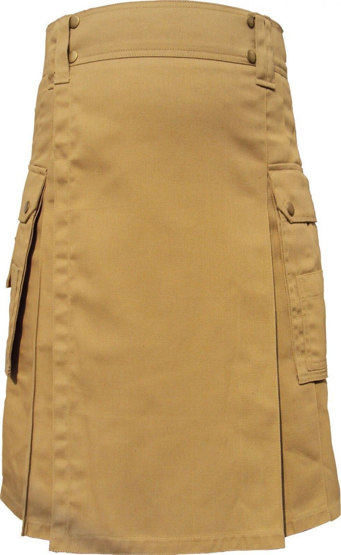 Men's Scottish Highland Active Modern Pocket Khaki Light Brown Cotton Kilt Size 42