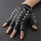 Men's Skull Stud Biker Punk Driving Motorcycle Finger less Leather Gloves Size L