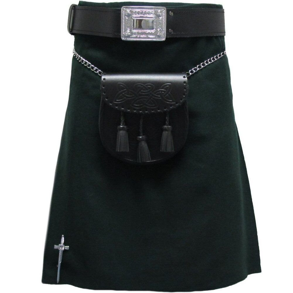 Scottish Black Plain Tartan Highland Traditional Wear Sports Kilt Size 32