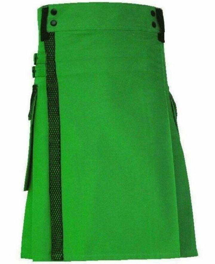 size 34 green Scottish highlander net pocket utility cotton kilt for working men