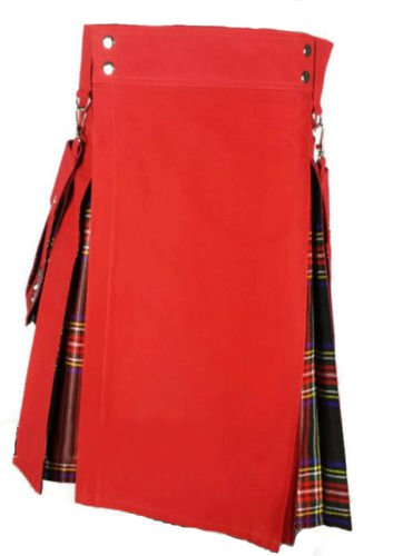 Scottish highlander Red & Black Stewart Hybrid Detachable Pockets Kilt Size 46