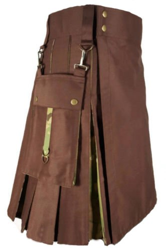 Scottish Men Brown & Multicam Hybrid Detachable Pockets Utility Kilt Size 32