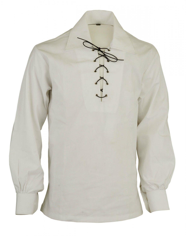 Men Off White Scottish Highland Jacobean Jacobite Shirt, Gillie Kilt Shirt Size 3XL