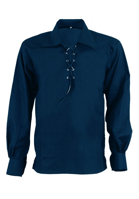 Men Navy Blue Scottish Highland Jacobean Jacobite Shirt, Gillie Kilt Shirt Size M