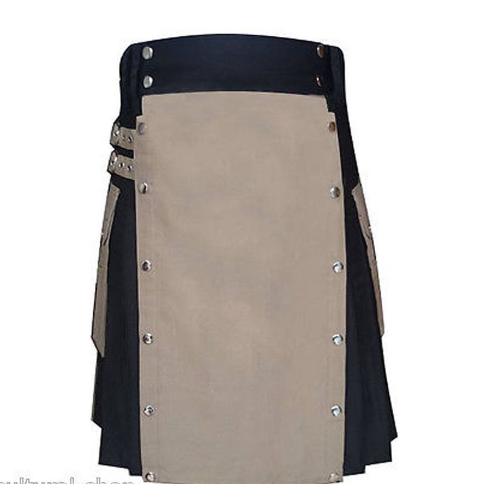 Highland Men Scottish Kilt Black & Two Toned Stylish Unisex Adult Handmade Size 44