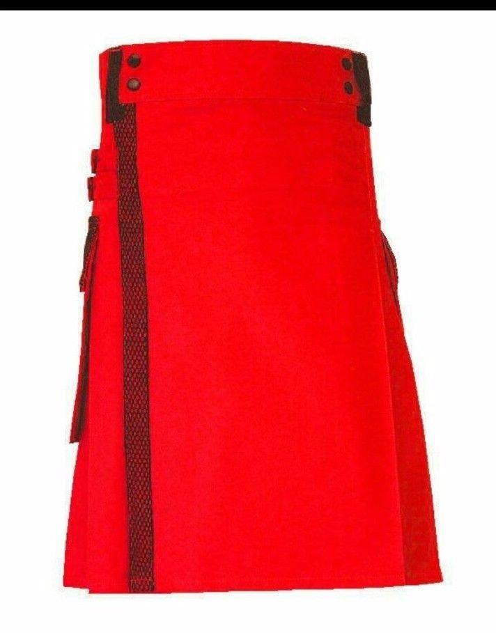 NEW Scottish Red Utility Unisex Adult Handmade Cargo Kilt Size 34