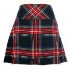 New Ladies Black Stewart Tartan Scottish Mini Billie Kilt Mod Skirt Size 48