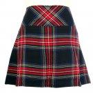 New Ladies Black Stewart Tartan Scottish Mini Billie Kilt Mod Skirt Size 34