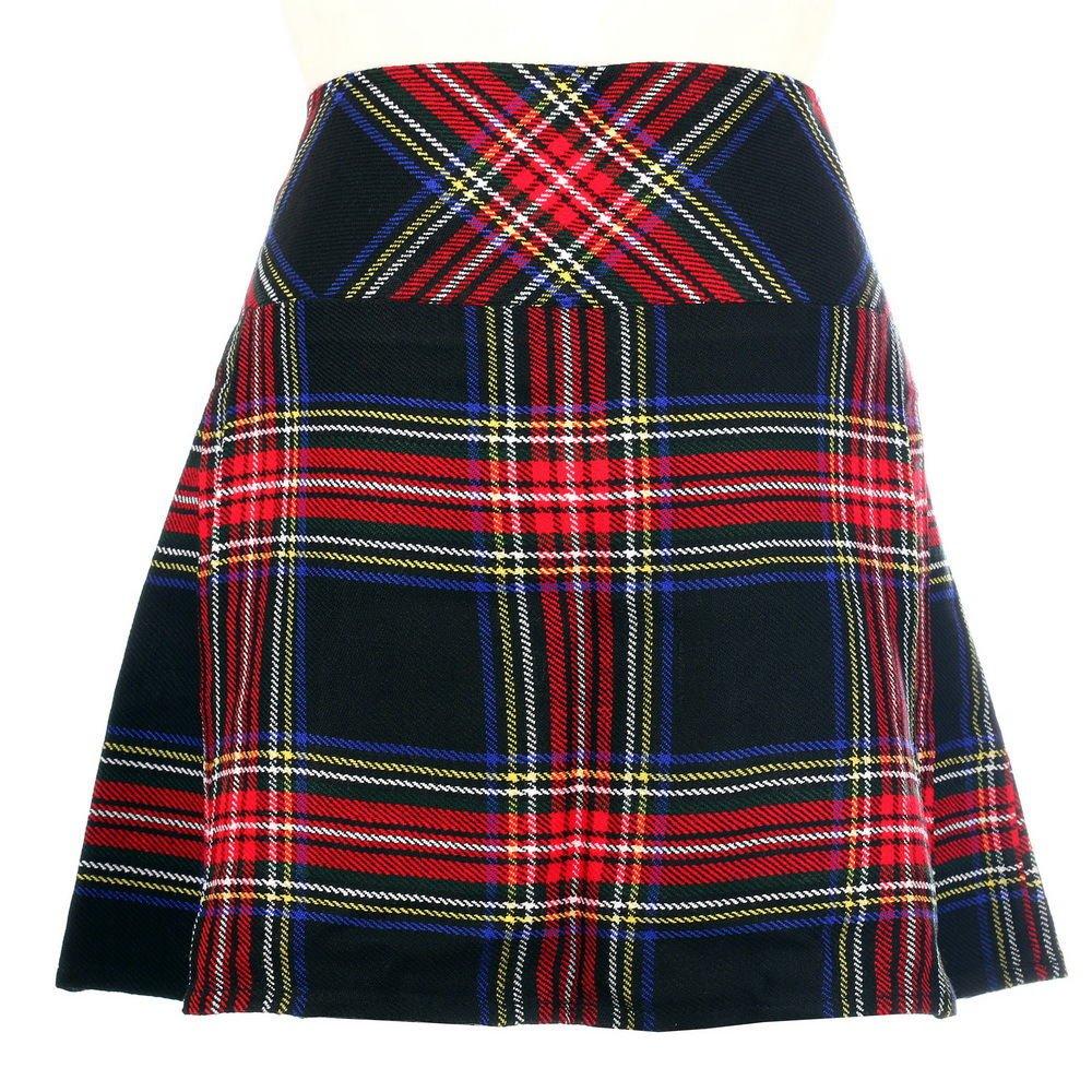 New Ladies Black Stewart Tartan Scottish Mini Billie Kilt Mod Skirt Size 36