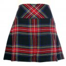 New Ladies Black Stewart Tartan Scottish Mini Billie Kilt Mod Skirt Size 40