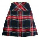 New Ladies Black Stewart Tartan Scottish Mini Billie Kilt Mod Skirt Size 46