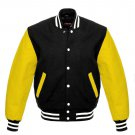 New DC Letterman Black wool Yellow leather  sleeves varsity jacket size xs