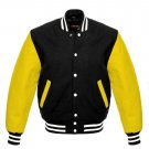 New DC Letterman Black wool Yellow leather  sleeves varsity jacket size S