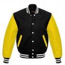 New DC Letterman Black wool Yellow leather  sleeves varsity jacket size 3XL
