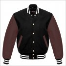 New DC Letterman Baseball Black wool Brown leather  sleeves varsity jacket size S