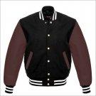 New DC Letterman Baseball Black wool Brown leather  sleeves varsity jacket size M