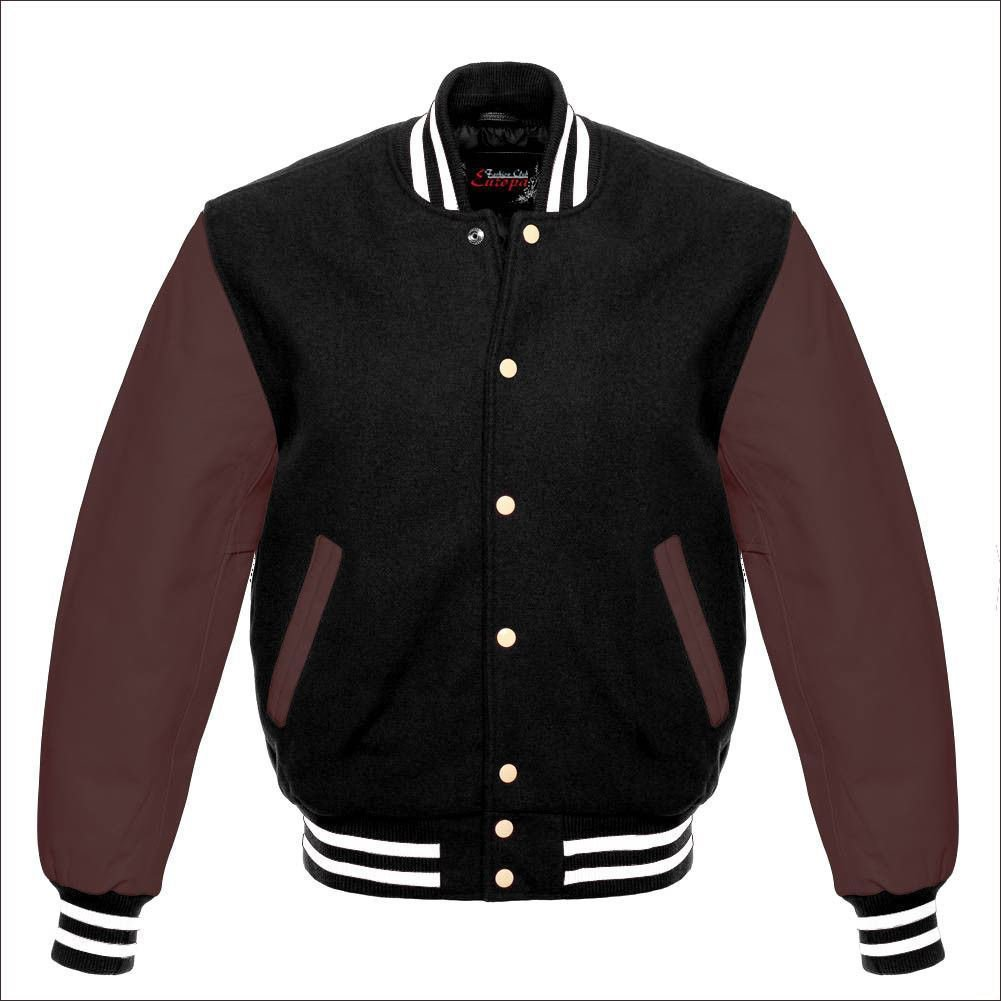 New DC Letterman Baseball Black wool Brown leather  sleeves varsity jacket size 3XL