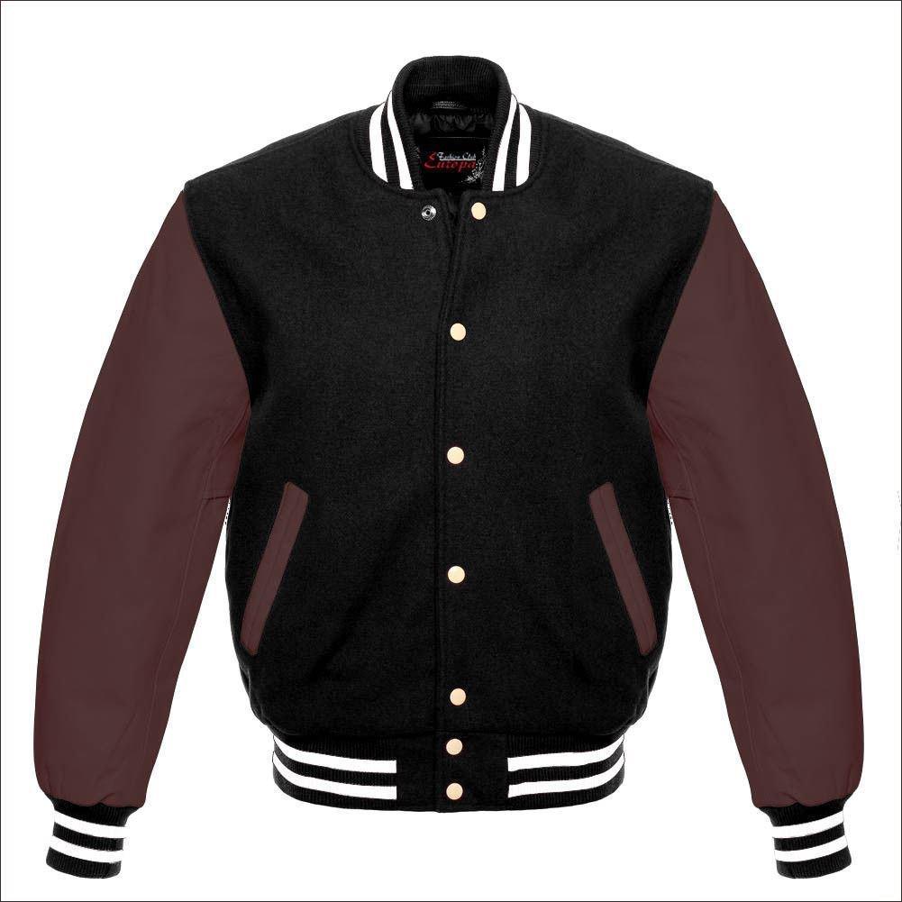 New DC Letterman Baseball Black wool Brown leather  sleeves varsity jacket size 4XL