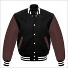 New DC Letterman Baseball Black wool Brown leather  sleeves varsity jacket size 4XL