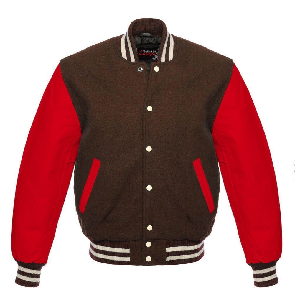 New DC Letterman Baseball Brown wool Red leather  sleeves varsity jacket size S