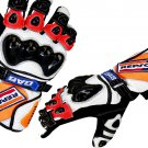 Honda Repsol Motorbike Motto GP Leather  Racing Glove Protected Racing Glove Size S