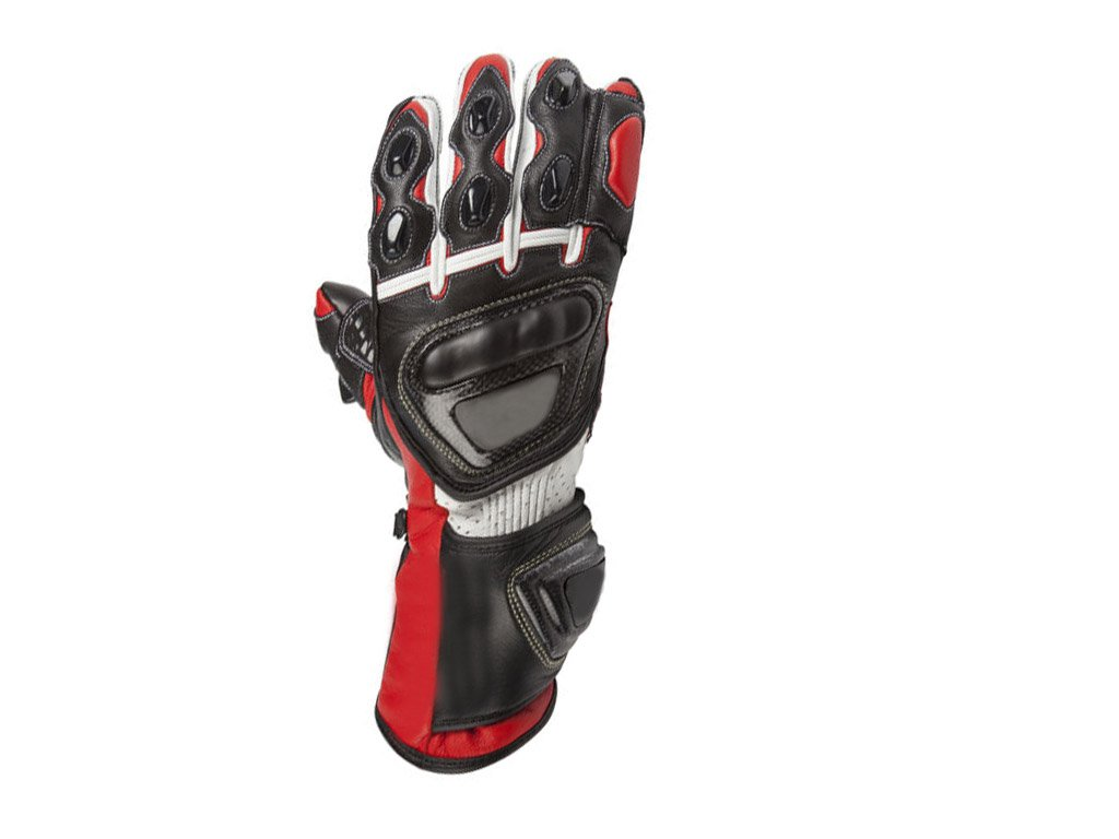 Black/Red Motorbike Motto GP Leather  Racing Glove Protected Racing Glove Size XS