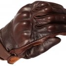 Brown Classic Motorbike Motto GP Leather  Racing Glove Protected Racing Glove Size M