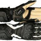 Black Otra Motorbike Motto GP Leather  Racing Glove Protected Racing Glove Size L