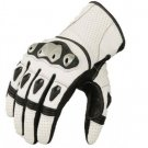 White Motorbike Motto GP Leather  Racing Glove Protected Racing Glove Size S