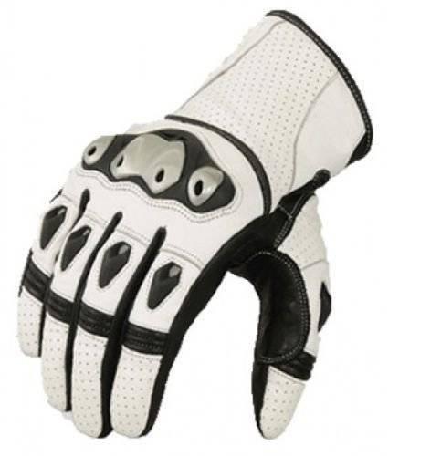 White Motorbike Motto GP Leather  Racing Glove Protected Racing Glove Size XL