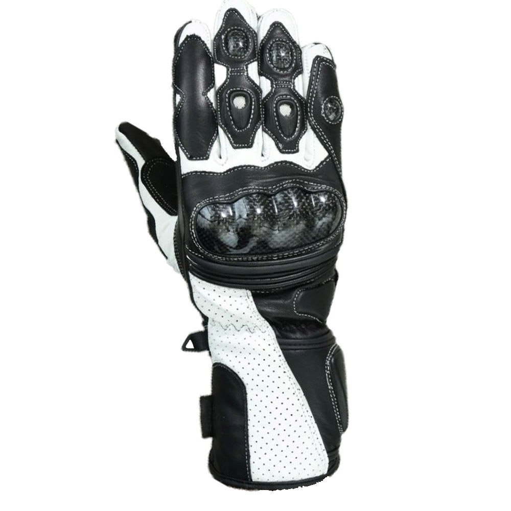 Black/White Motorcycle Motto GP Protective Racing Sport Gloves Size 2XL