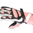 Ladies Motorcycle Leather Pink Gloves.biker Sports Leather gloves Size XL