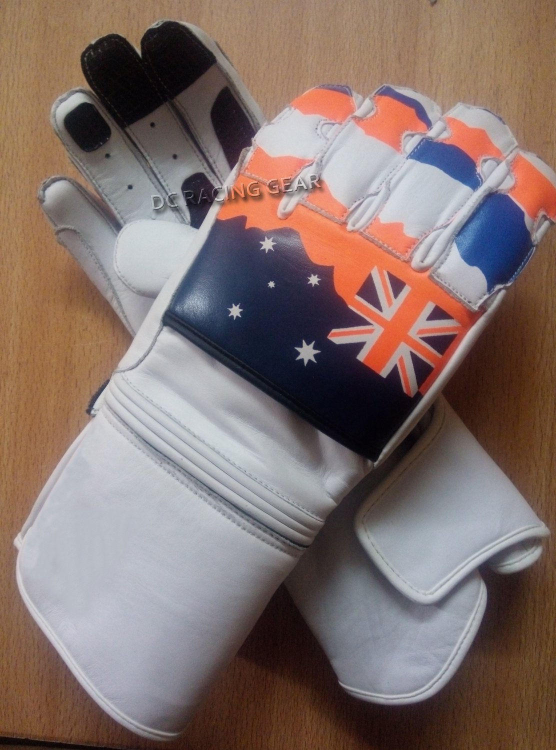 White UK Flag Motorcycle Leather Gloves.biker Sports Leather gloves Size XL