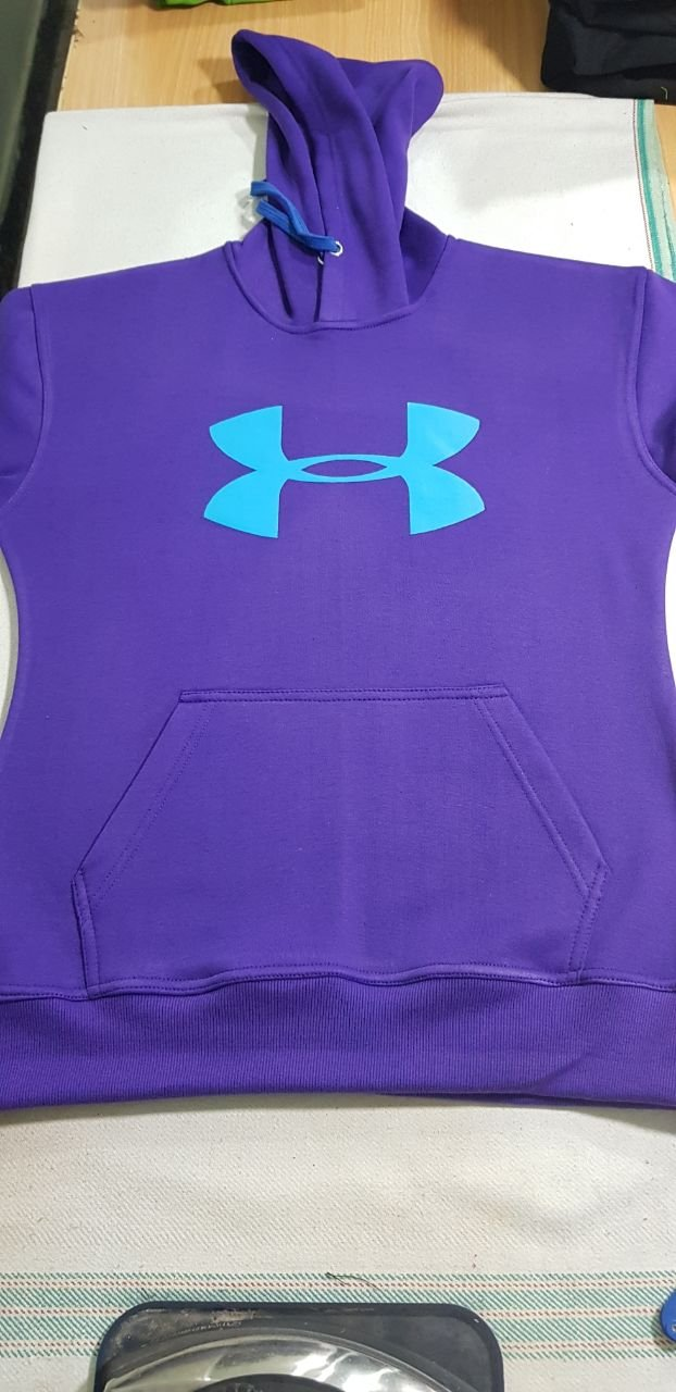 Purple Hooded Under Armour Logo Printed Sweatshirt Men's Women's Hoodies Jacket Size XL