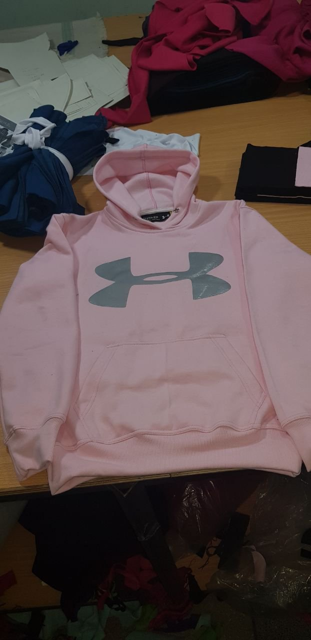 Light Pink Hooded Under Armour Logo Printed Sweatshirt Men's Women's Hoodies Jacket Size S