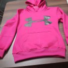 Pink Hooded Under Armour Logo Printed Sweatshirt Men's Women's Hoodies Jacket Size 2XL