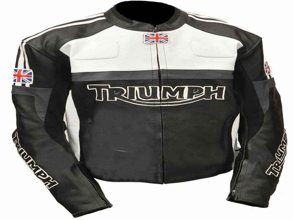 New Mens Triumph Motorcycle Racing Biker 100% Cowhide Leather Jacket Size S