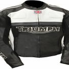New Mens Triumph Motorcycle Racing Biker 100% Cowhide Leather Jacket Size 5XL