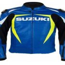 SUZUKI RGSX BLUE MOTORCYCLE LEATHER RACING JACKET FULL BODY PROTECTIONS SIZE M