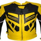 MOTORCYCLE LEATHER RACING JACKET YELLOW FULL BODY PROTECTIONS SIZE L