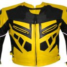 MOTORCYCLE LEATHER RACING JACKET YELLOW FULL BODY PROTECTIONS SIZE 2XL
