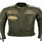 MOTORCYCLE CLASSIC LEATHER RACING JACKET BLACK FULL BODY PROTECTIONS SIZE L