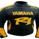 MOTORCYCLE YAMAHA LEATHER RACING JACKET BLACK/YELLOW FULL SIZE S