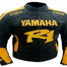 MOTORCYCLE YAMAHA LEATHER RACING JACKET BLACK/YELLOW FULL SIZE XL