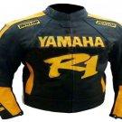 MOTORCYCLE YAMAHA LEATHER RACING JACKET BLACK/YELLOW FULL SIZE 4XL